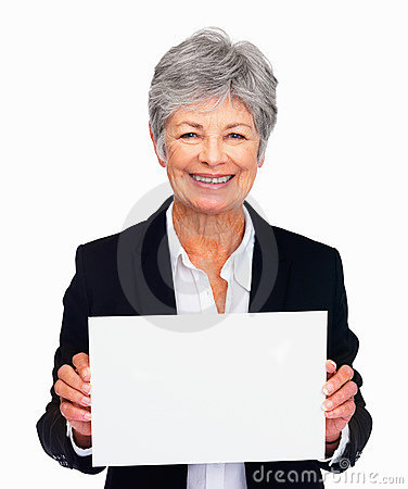 Senior woman holding a blank white sign over white