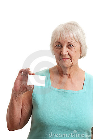 Senior woman holding a business card