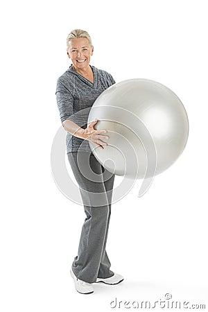 Senior Woman Holding Fitness Ball