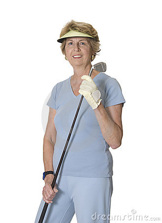 Senior woman holding golf club