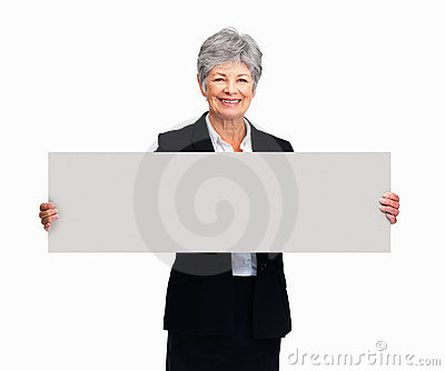 Senior woman holding a rectangular blank sign