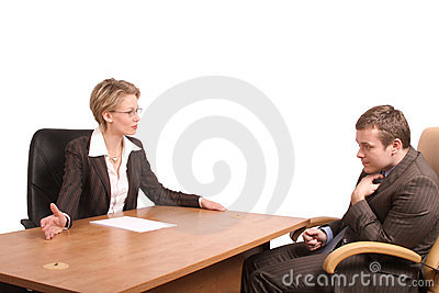 Senior woman junior man business talk - reprimand