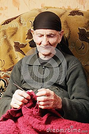 Senior woman at knitting