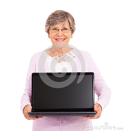 Senior woman laptop