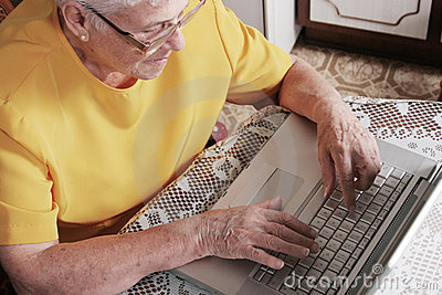 Senior woman with a laptop
