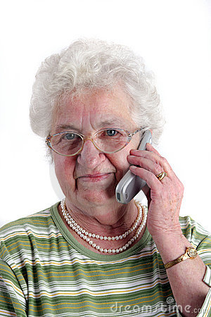 A senior woman with mobile phone