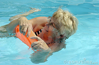 Senior woman in pool