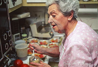 Senior woman preparing holiday dinner