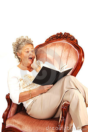 Senior woman reading.