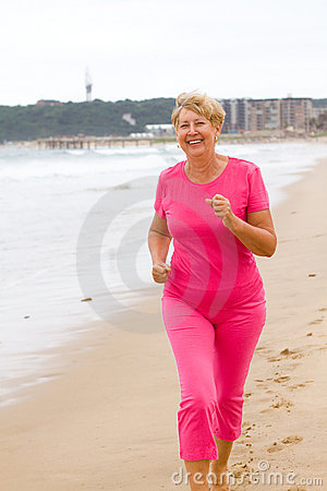 Senior woman running