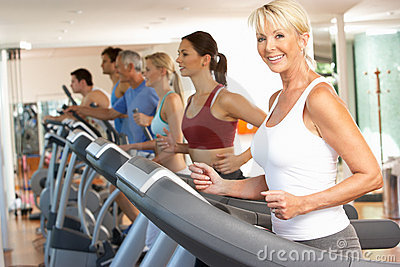 Senior Woman On Running Machine