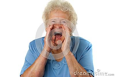 Senior woman is shouting loud