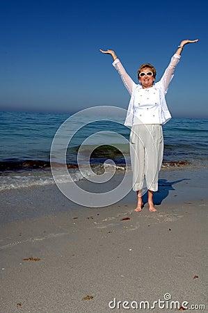 Senior woman soaking up sun