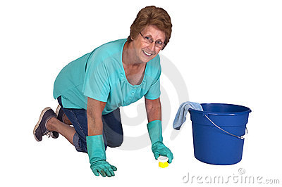 Senior Woman Spring Cleaning Household Chores