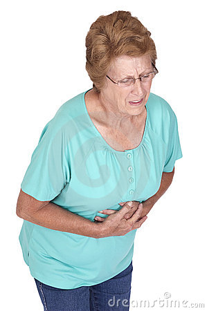 Senior Woman Stomach Ache Heartburn Pain Isolated