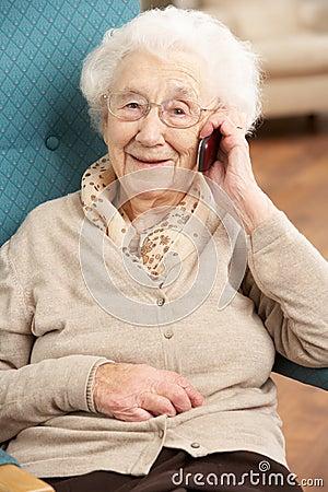 Free Senior Woman Talking On Mobile Phone Royalty Free Stock Photo - 18868505