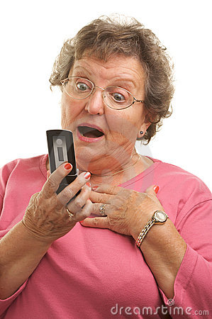 Senior Woman Texting on Cell Phone