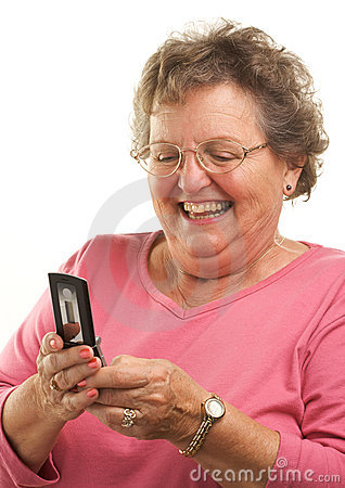 Free Senior Woman Texting On Cell Phone Stock Photos - 4894053