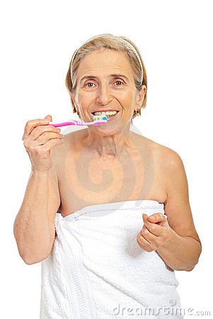 Senior woman with tooth brush