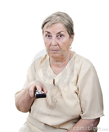 Senior woman with TV remote control