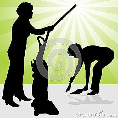 Senior Woman Using Vacuum and Dust Pan