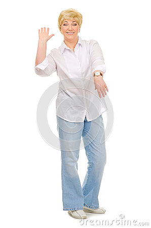 Senior woman with watches