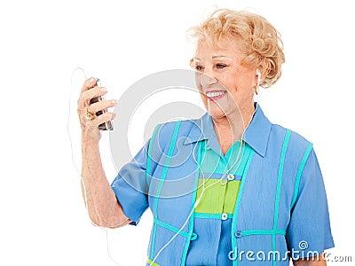 Senior Woman Watching Video