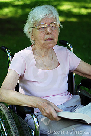 Senior woman on wheelchair
