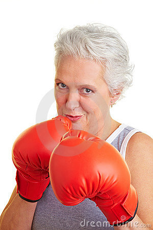 Free Senior Woman With Boxing Gloves Royalty Free Stock Photography - 12951847