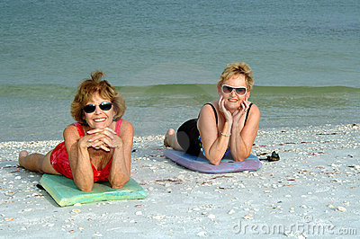 Senior women beach vacation