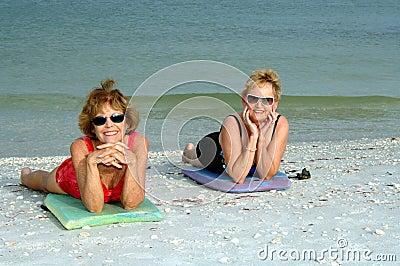 Senior women beach vacation