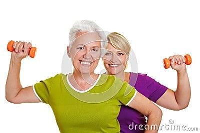 Senior women doing fitness training
