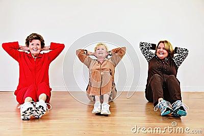 Senior women exercise class