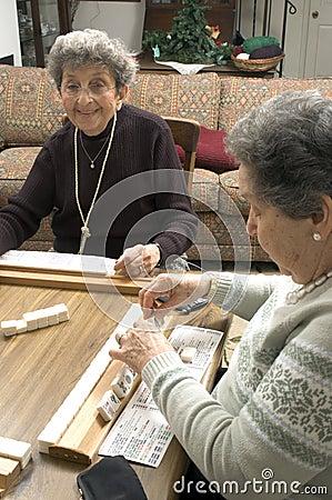 senior women friends Playing mah-jong