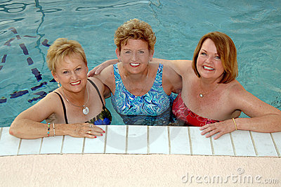Senior women in the pool