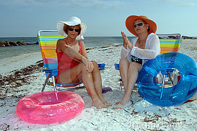 Senior women sun protection