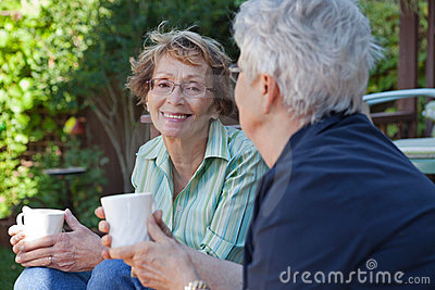 Senior Women with Warm Drinks
