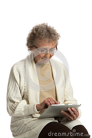 Senior Woring Tablet Computer White Background
