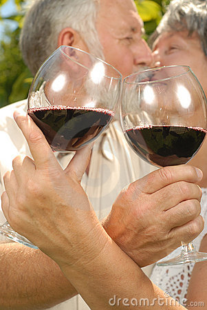 Free Seniors At A Wine Tasting Stock Image - 5256071