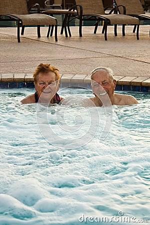 Seniors Enjoying the Hot Tub