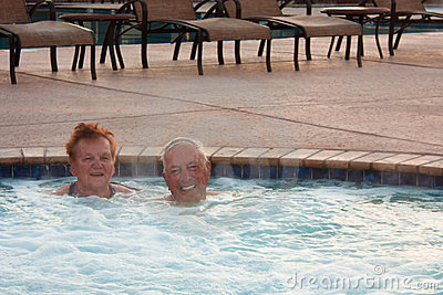 Seniors enjoying the Hot Tub h