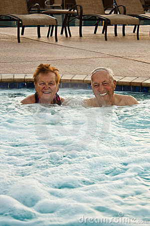 Free Seniors Enjoying The Hot Tub Stock Photos - 23996303