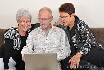 Seniors exploring the web
