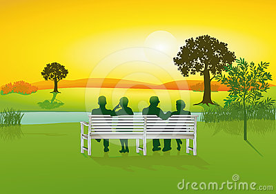 Seniors on park bench