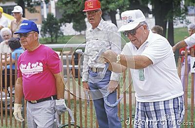 Seniors playing horseshoes Editorial Photo