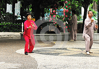 Seniors playing tai chi Editorial Stock Photo