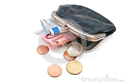 Seniors wallet with Euro currency