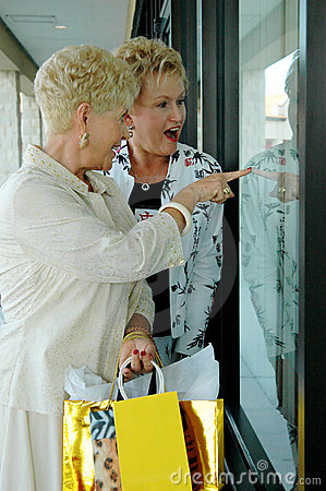 Seniors window shopping