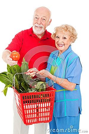 Free Seniors With Organic Produce Stock Image - 8305381