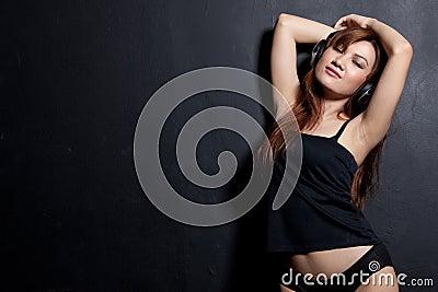 Sensual asian woman with headphone